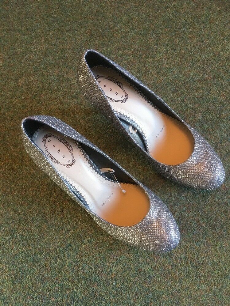 Debut Ladies Size Court Shoe In Silver Size Ladies 5 3a9dba