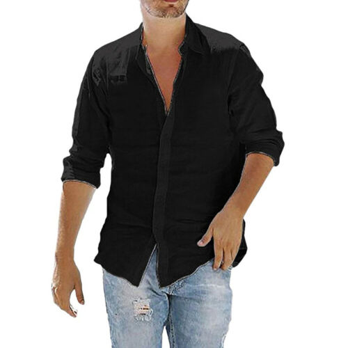 Sommer Herren Langarm Solid Hemd Locker Freizeit Top Baumwolle Blends Bluse