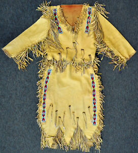 NATIVE-AMERICAN-PLAINS-INDIAN-BEADED-HIDE-SHIRT-SKIRT-OUTFIT-DRESS-SIOUX-BEAD