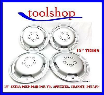 "Fiat Ducato 15"" WHEEL TRIMS EXTRA DEEP DISH HUB CAPS SILVER Set of 4"