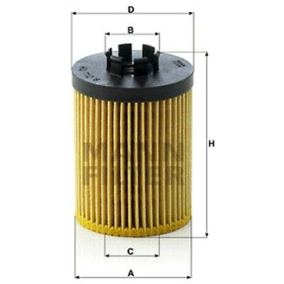 Mann HU712//8x Oil Filter Element Metal Free 87mm Height 59mm Outer Diameter