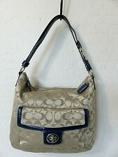 61c4c162a0 Coach Penelope Shoulder Bag Signature Beige Sateen Navy Leather Handbag  F19232