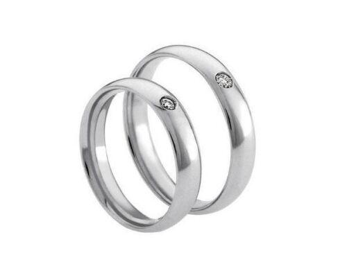 Coppia A122 Anello Diamante Fede Fedine Argento Fidanzamento Diamond Silver Ring