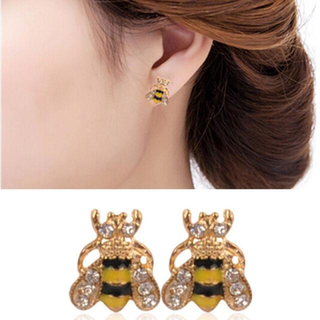 Cute Lovely Rhinestone Bumble Bee Crystal Earrings Animal Ear Stud Jewelry Gift