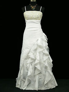 Cherlone White Ballgown Wedding Evening Bridesmaid Full Length Dress 16-18