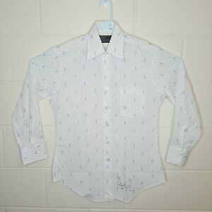 VTG-70s-Sears-Men-039-s-Size-Large-Button-Up-Shirt-Perma-Prest-Dress-Shirt-Geometric