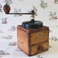 VINTAGE FRENCH c1940s PEUGEOT FRERES COFFEE GRINDER DOVETAILED WOOD WORKING MILL