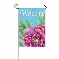 Summer Welcome Poppy Flower Pink Tree Peony Pop Flower Mini Garden Flag