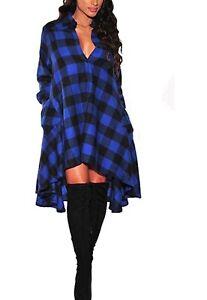 OLRAIN-New-Plaids-Irregular-Hem-Casual-Shirt-Dress-Womens-Sz-S-Blue-Plaid