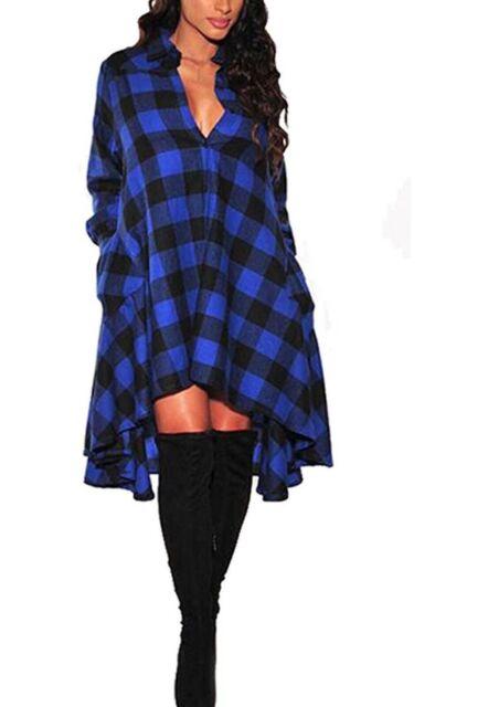 OLRAIN New Plaids Irregular Hem Casual Shirt Dress Womens Sz S - Blue Plaid