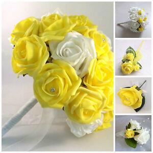 Bouquet Sposa Giallo.Fiori Artificiali Giallo Matrimonio Sposa Bouquet Damigella D