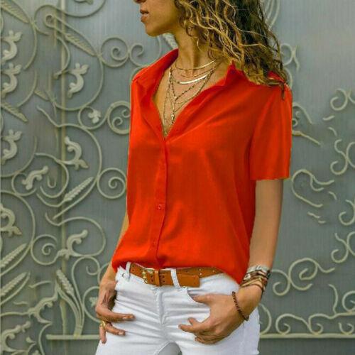 Women Short Sleeve Shirts Plain Button Down Summer Casual Office Work Blouse Top