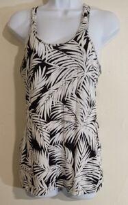 Victoria-039-s-Secret-Moda-International-Black-White-Cotton-Top-Size-Small-Palm-Leaf