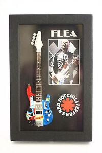 rgm8808-Pulga-Red-Hot-Chili-Peppers-MINIATURA-GUITARRA-EN-SHADOWBOX-MARCO