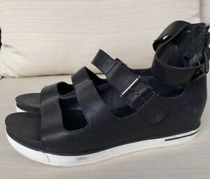 EILEEN-FISHER-Black-Leather-Ankle-Strap-Sport-Sandals-US-10