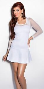 Robe-blanche-sexy-avec-resille-NEUF-emballe-Taille-M-L-fashion-manches-longues