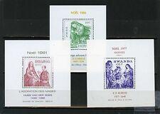 RWANDA 1977,1981,1984 Sc#1207 CHRISTMAS PAINTINGS 3 S/S MNH