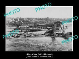 OLD-LARGE-HISTORIC-PHOTO-OF-BLACK-RIVER-FALLS-WISCONSIN-THE-TOWN-amp-FLOOD-1911-1