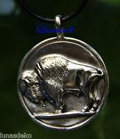 Anhänger mit Büffelmotiv, pur Silber    3,5 cm