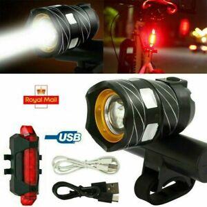 New 15000LM Bike LED Front Light USB Rechargable Lamp Flashlight Bicycle