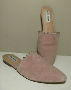 6600cc7633e Details about STEVE MADDEN ' TRACE-B' Pink Studded Suede Low Heel Flats  Slides Mules Sz 8.5