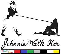 Johnnie Walker Walk Her Scotch Whisky Decal Sticker Black Blue Label