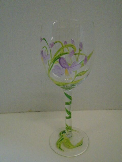 Floral flowers purple green white wine glass hand painted vine ebay floral flowers purple green white wine glass hand painted vine mightylinksfo