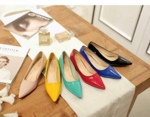Womens Block Heel Pointy Toe slip on Patent Leather Office Pumps Casual Shoes