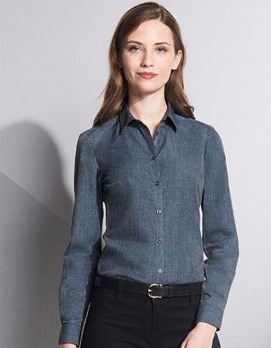 Damen Jeans Langarm Bluse Jeanshemd Gr.XS,S,M,L,XL,XXL blau grau L01429
