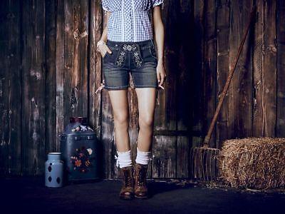 Bello Top Donna Jeans Blu Pantaloncini Trachten Lederhose Pantaloni Trachten Oktoberfest Oktoberfest-mostra Il Titolo Originale