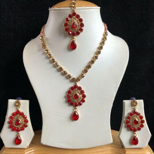 RED BEIGE GOLD INDIAN KUNDAN JEWELLERY NECKLACE EARRINGS CRYSTAL SET NEW 956