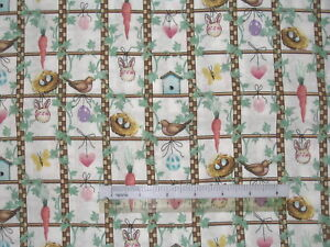 Bird-house-flower-Bee-Hive-Spring-cotton-quilting-fabric-Choose-design-size