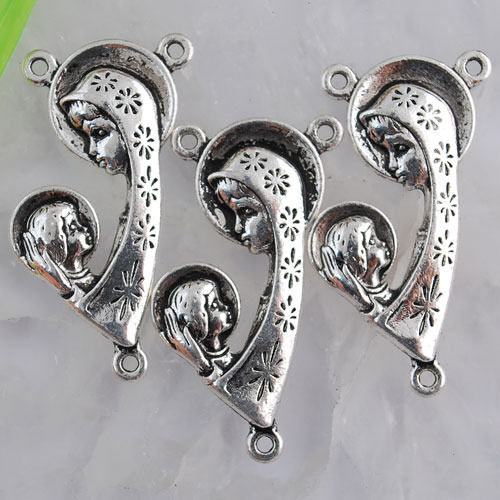 Ed1566 5pcs Tibetan silver mother /&kid design connector in 3holes