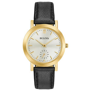 Bulova Women's Quartz Classic Black Leather Gold Tone Case 32mm Watch 97L159