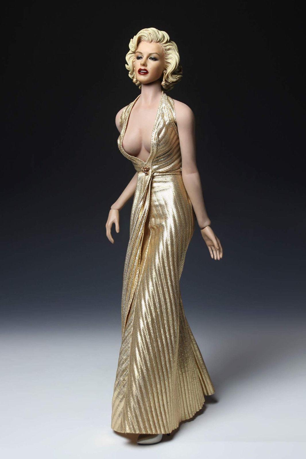 1 6 DIY marilyn monroe femenina pH personaje muñeca vestido de oro y recopilación de cabeza