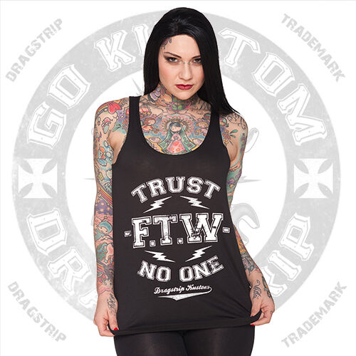 Dragstrip Clothing Girl Black Vest Top FTW Trust No One Lucky 13 rockabilly vest