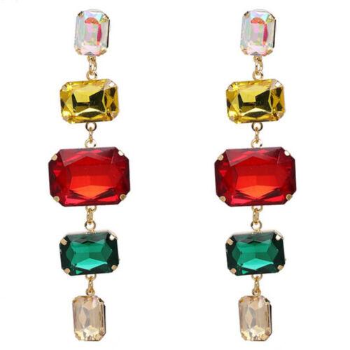 1 par de Joyería de Moda Mujeres Elegantes Pendientes de Diamantes de Imitación de Cristal Oreja Pasador Dama