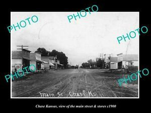 OLD-LARGE-HISTORIC-PHOTO-OF-CHASE-KANSAS-THE-MAIN-STREET-amp-STORES-c1900