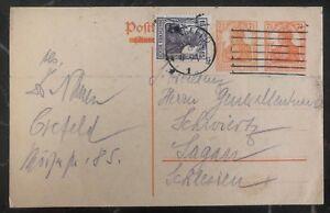 1920-Crefeld-Germany-Postcard-Postal-Stationary-Uprated-Cover-To-Sagan
