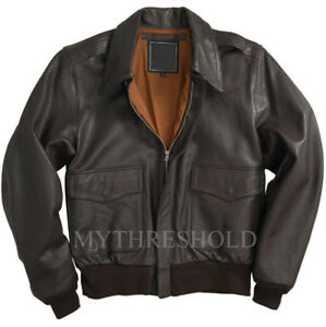 Men-039-s-Air-Force-A-2-Leather-Flight-Bomber-Jacket