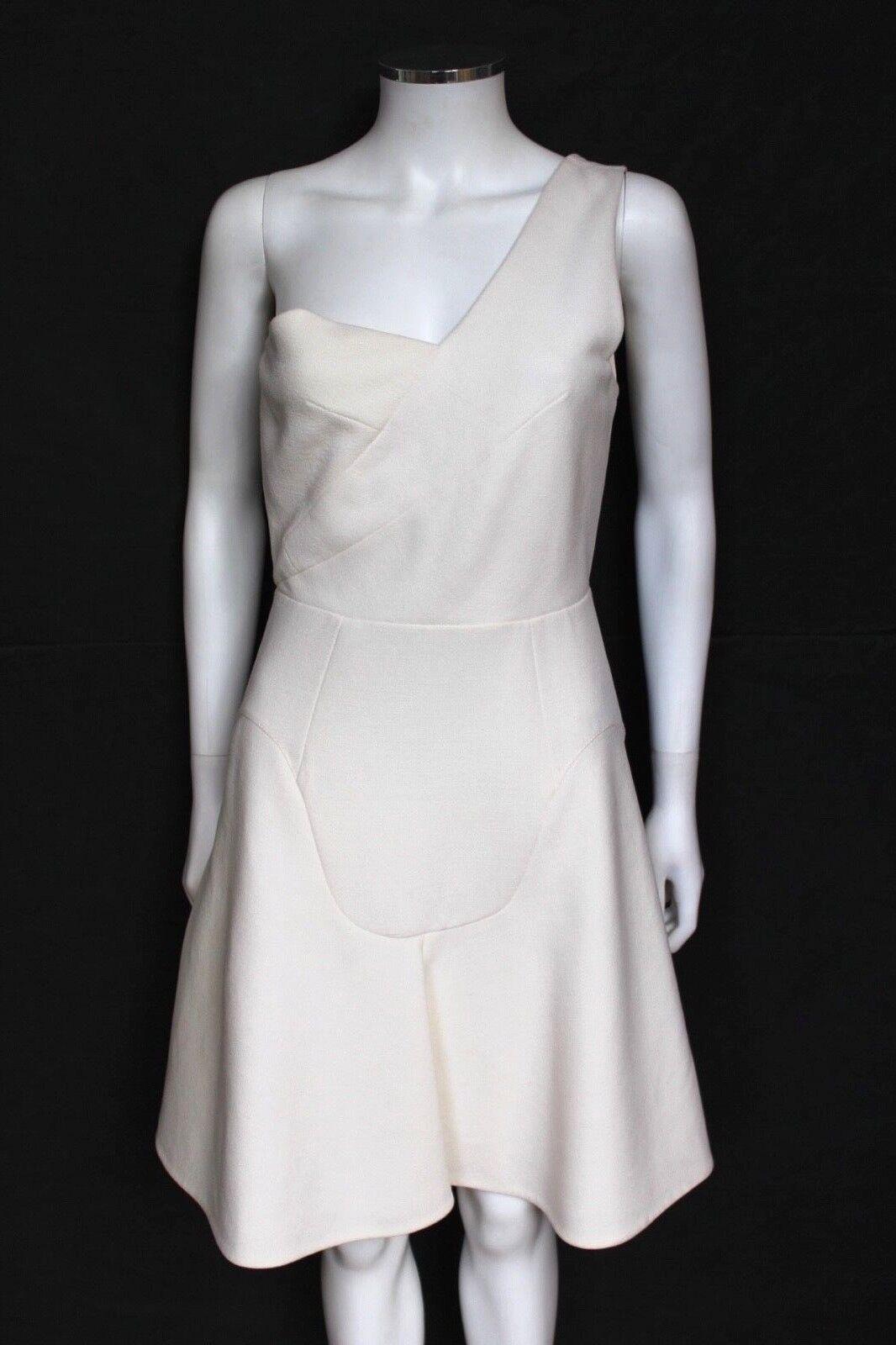 Roland Mouret White One Shoulder Wool Crepe Dress