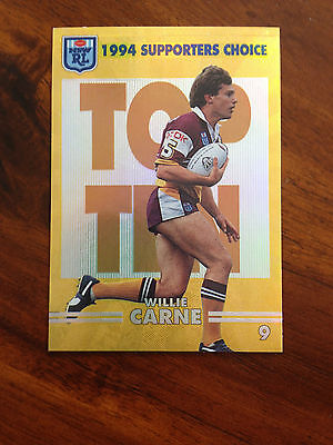 Supporters Choice Willie Carne Card 9 of 10 NSW Rugby League 1994 Series 2