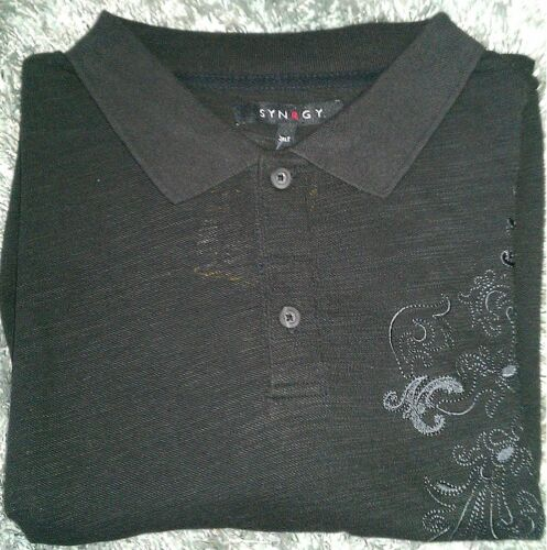 Para Hombre Negro Natural Emblema De Manga Corta Camisa Polo De Algodón 100/% Talla Grande 3XL