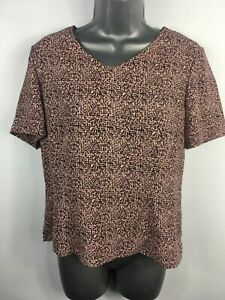 WOMENS-VIYELLA-PETITE-LILAC-BLACK-PATTERNED-SHORT-SLEEVE-T-SHORT-BLOUSE-UK-10