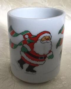 Small Vtg Hallmark Skating Santa Christmas Ceramic Votive Candle Holder Ebay