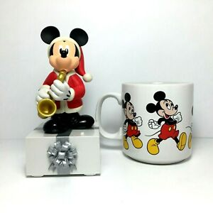 Disney-Hallmark-2013-MICKEY-MOUSE-Saxophone-Christmas-Music-Motion-amp-Mug-A0