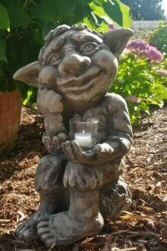 Gartenfigur Troll  JORIK  inkl. CG1-Glas, Steinguss
