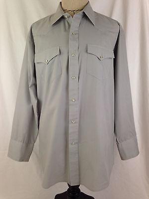 Mesquite Western Shirt Mens 17 1/2-34 Sz Gray Cowboy Rodeo Fort Worth Texas USA