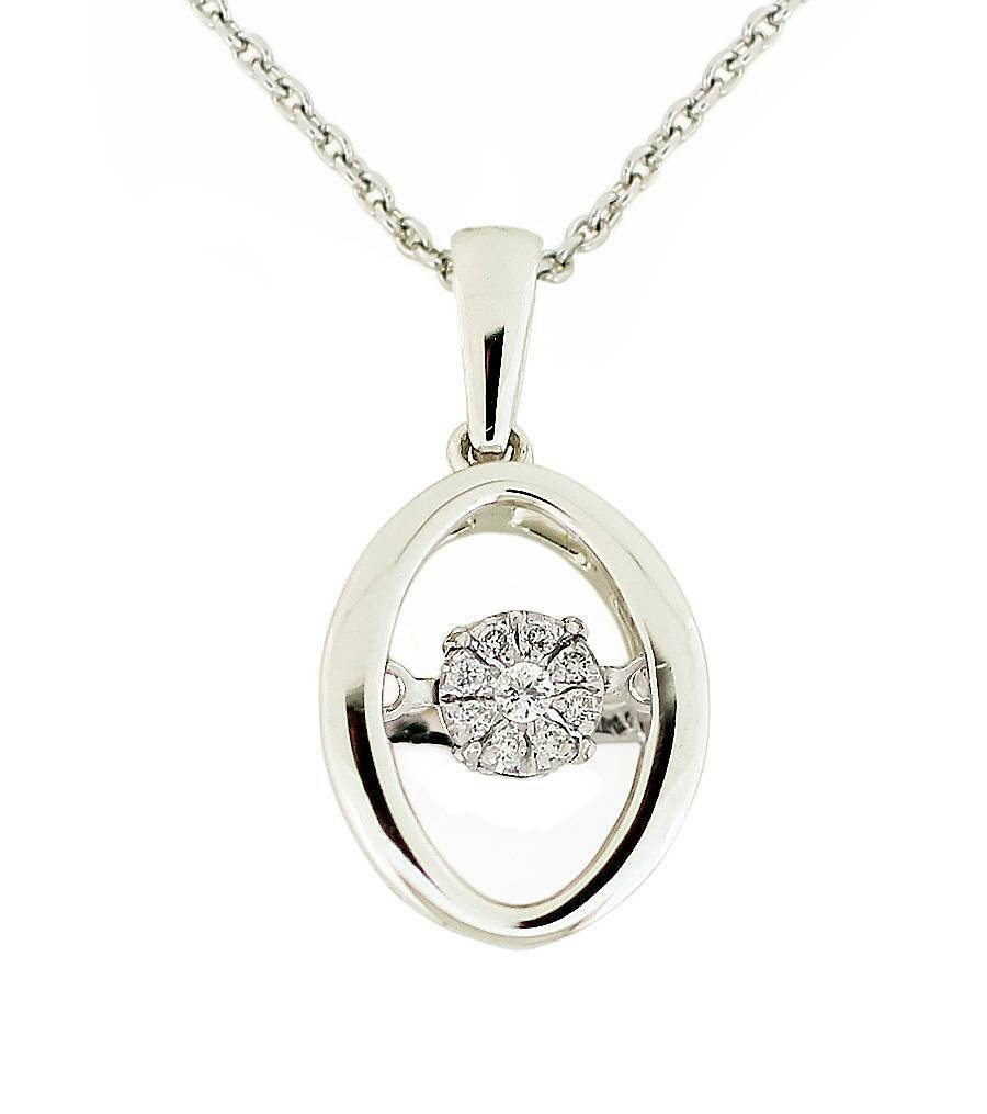 Floating Diamond Pendant 10K White gold Oval Twinkle Cluster Pendant  .04ct
