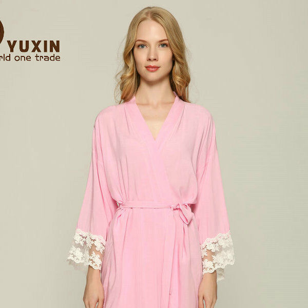 60d2a3f404f Cotton Bridesmaid Lace Robes With Trim Women Wedding Bridal Robe Short  Bathrobe S m Pink for sale online